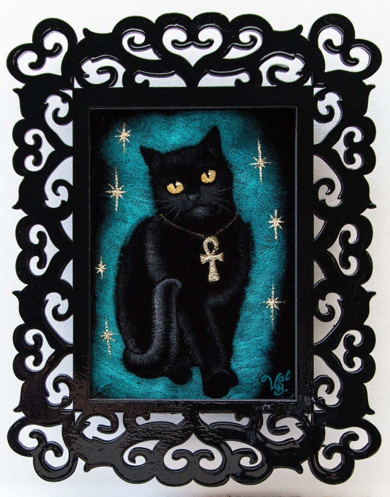Velvet Painting of Isis - Catwoman's Cat